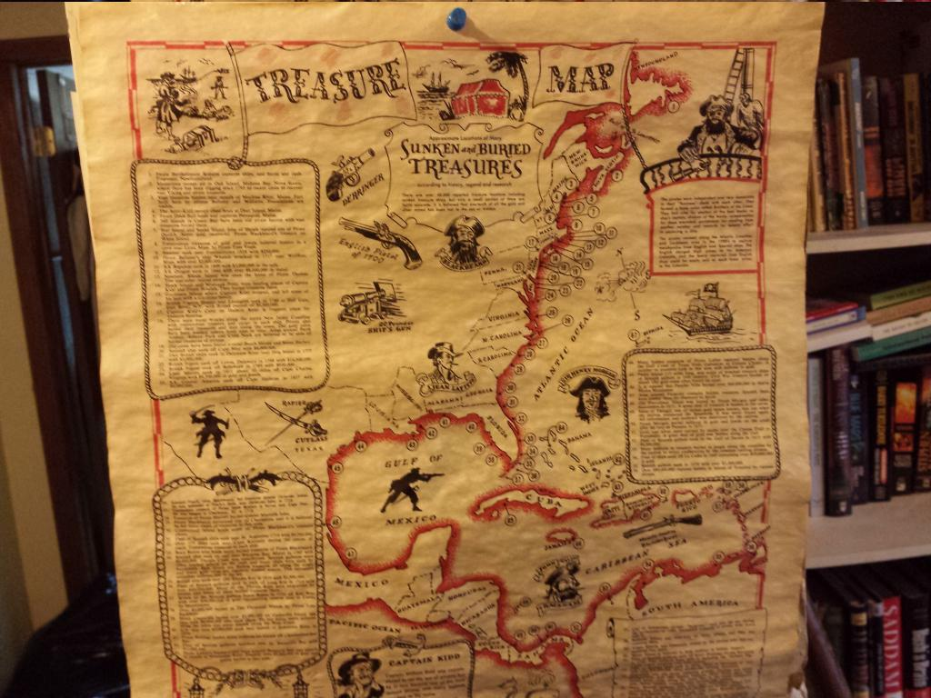 A Real Treasure Map! Authentic Treasure Map on authentic treasure chests, bahamas 1500s maps, decorating with maps, authentic games, authentic diamonds, civil war camp location maps, printable pirate maps,